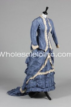 New Historic Victorian 19th Century Top & SKIRT Bustle Day Dress Ball Gown