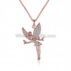 Fashionable Platnium Rose Gold Necklace with Angel Pendant for Versatile Occasions