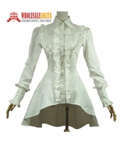 Victorian Gothic Lolita Romantic Cotton Blouse Ruffles Titanic Steampunk Theatre Clothing