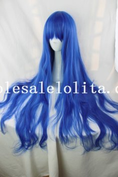Blue Color Heat Resistant Anime Cosplay Long Curly Hair Wig