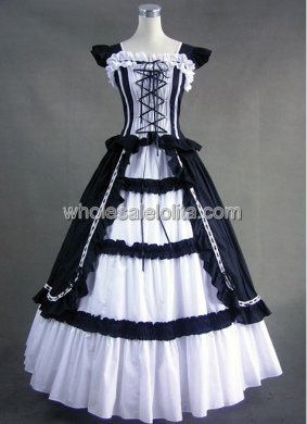 Victorian Black and White Gothic Lolita Cotton Dress Ball Gown Prom Reenactment