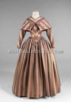 19th Century Period Dress-1840s Victorian Pre-hoop Era Visiting Dress