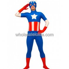 Blue And Red Spandex Captin Costume
