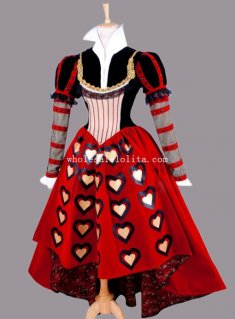 Halloween Alice in Wonderland Queen of Hearts Cosplay Costume for Adult