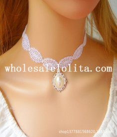 Beautiful White Lace Pearl Pendant Necklace for Bride/Bridesmaid Gift