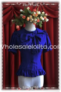 Ladies Blue Chiffon Big Bow Tie Short Sleeves Lolita Blouse