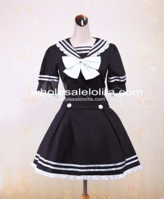 Great Black Sailor Cotton School Lolita Dress