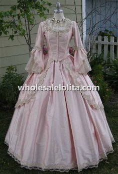 18th Century Light Pink Satin Marie Antoinette Period Dress Wedding Dress Ball Gown