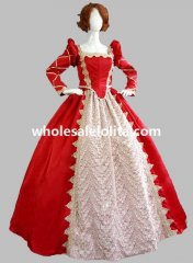 Victorian Period Dress Red Princess Corset Bodice Ball Gown Reenactment Clothing