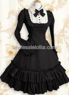Classic Cheap Black Long Sleeves Ruffle Cotton Classic Lolita Dress