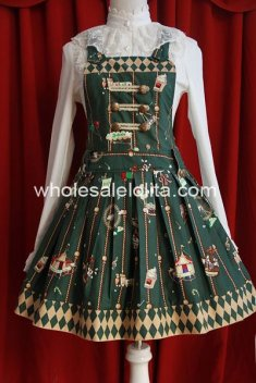 Sweet Amusement Park Print Jumper Skirt Cotton Lolita Dress
