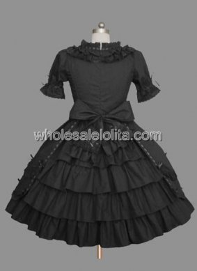Top Seller Black Bow Ruffled Gothic Lolita Dress