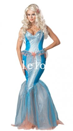 Halloween Floor Length Adult Mermaid Cosplay Costume Dress