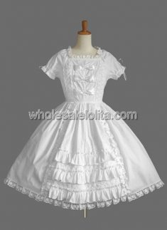 Pure White Lace Bow Cotton Lolita Dress with Short Sleeves