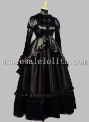 19th Century Noble Gothic Black Silk-like Victorian Ball Gown