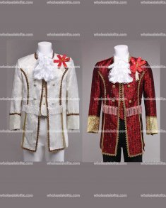 Customized Red/White Mens Palace Suit Prince Suits Medieval Mens Period Costume