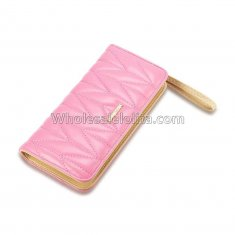 Luxury Designer Famous Brand Carteras Long Clutch Card Holder Ladies Women Wallets Fashion Brief Pink Zipper Lady Long PU Purse