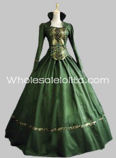 New Green Cotton & Brocade Gothic Victorian Gown Period Dress Theatre Clothing