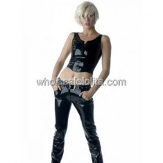 Two Pieces Black Catwoman Latex Catsuit with Braces