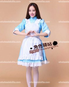 Cute Sky Blue Japan Maid Cosplay Costume