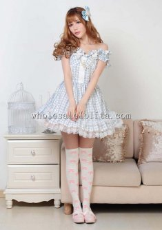Sky Blue Flat Shouders Sweet Lolita Dress for lolita Dress Up Games