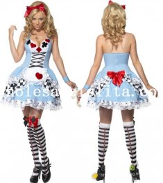 Disney Alice in Wonderland Sexy Halloween Costume Maid Dress