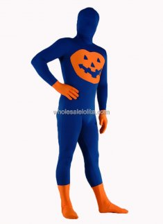 Blue And Orange Lycra Spandex Halloween Catsuit