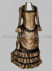 Retro Champagne Wedding Satin Black Lace Victorian Bustle Period Dress