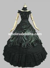 Southern Belle Civil War Dark Green and Black Period Dress Ball Gown Reenactment