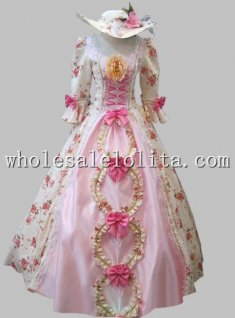 Hot Sale Pink Baroque Rococo 17 18th Century Marie Antoinette Floral A Line Prom Dresses