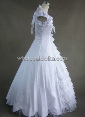 Elegant White Cotton & Lace Victorian Prom Dress Ball Gown Wedding