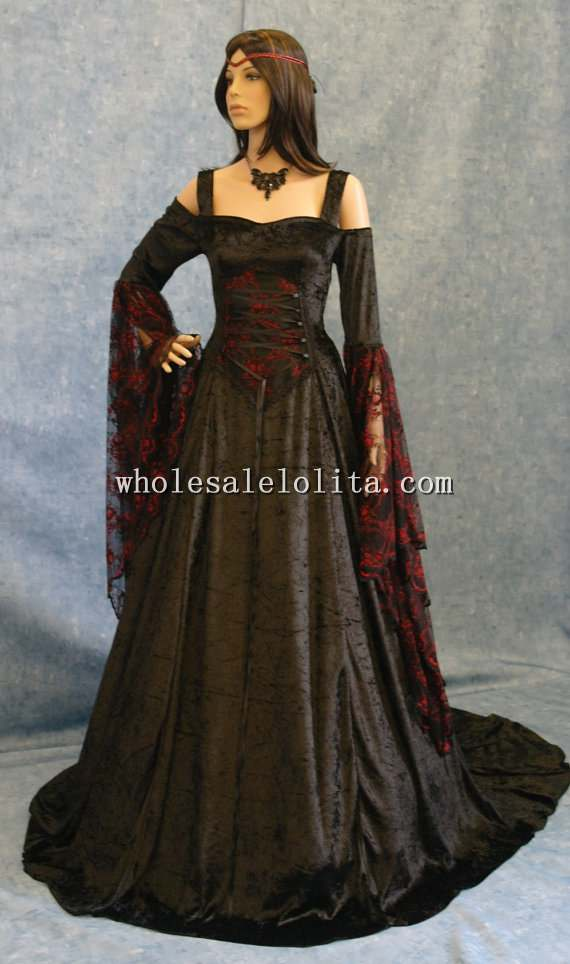 Renaissance Medieval Gothic Black And Red Wedding Dress Pagan Wicca