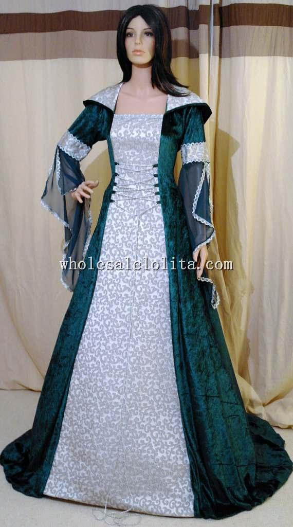 Dark Green and Silver Medieval Handfasting Renaissance Wedding Dress ...