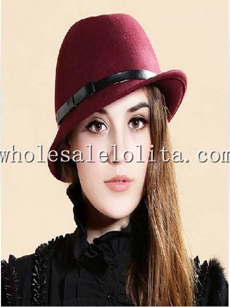 c3276b9f27dca Retro British Wool Bow Autumn Winter Fedora Hat - wholesalelolita.com