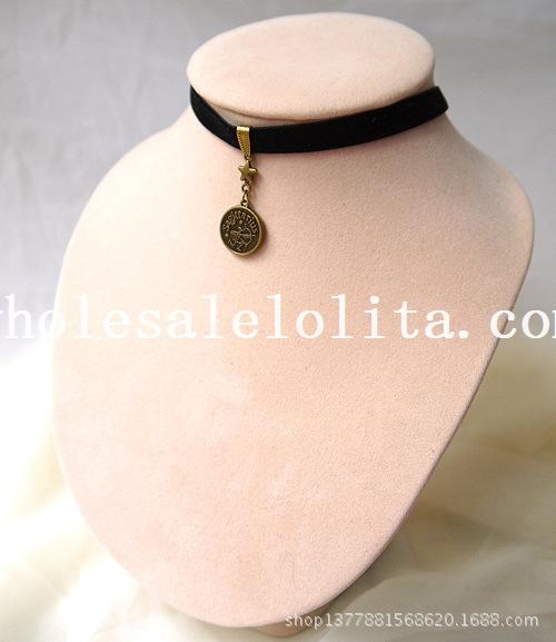 Vintage Black Velvet Collar Choker Necklace with Sagittarius