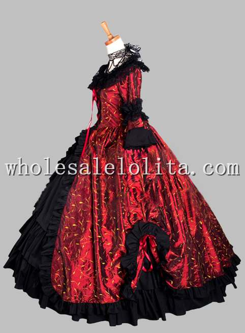 Gothic Black and Wine Red Print Victorian Themed Dress Vampire ...