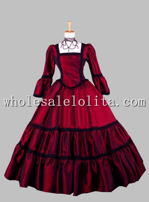 Gothic Wine Red Square Collar Victorian Era Dress Ball Gown ...