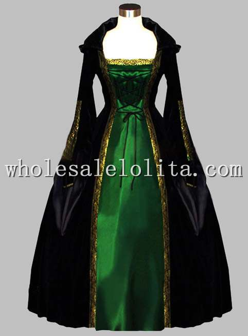 563150b1dec2e Gothic Black and Green Euro Court Dress Witch Halloween Costume ...