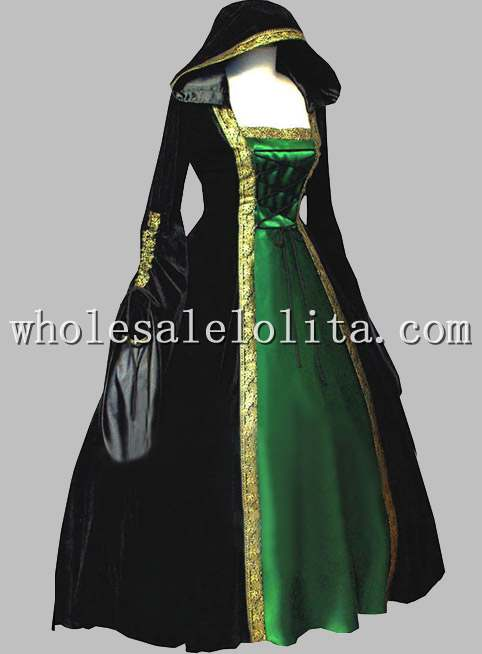 Gothic Black and Green Euro Court Dress Witch Halloween Costume ... 589f426e2c0d