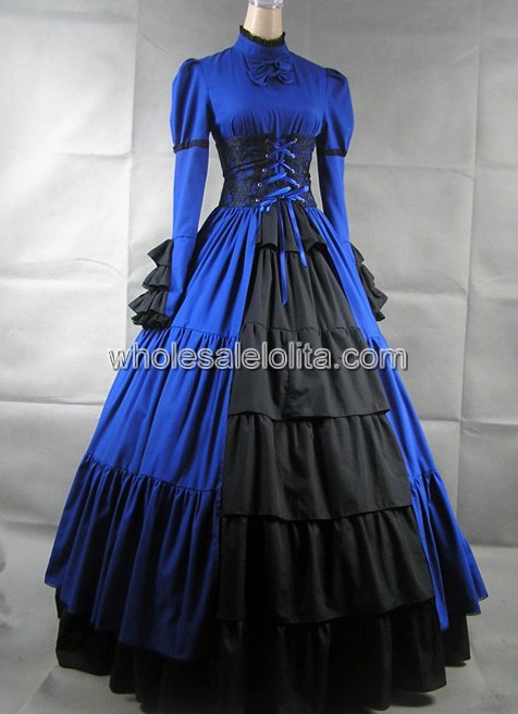 Blue and Black Long Sleeves Gothic Victorian Dress 58e85f562c4b