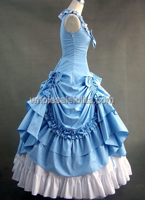 Victorian Sky Blue and White Civil War Southern Belle Lolita Ball Gown Dress d4bc6fe0d411