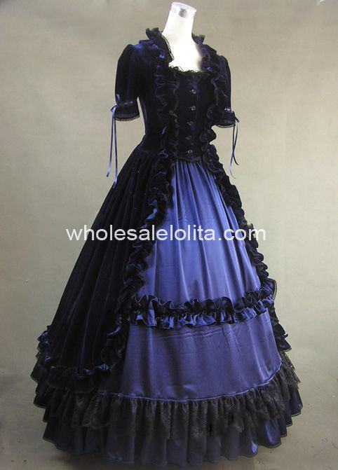Well Made 2 Pices Blue and Black Gothic Victorian Prom Dress Historical  Theatre Costume 8a71c70cef64