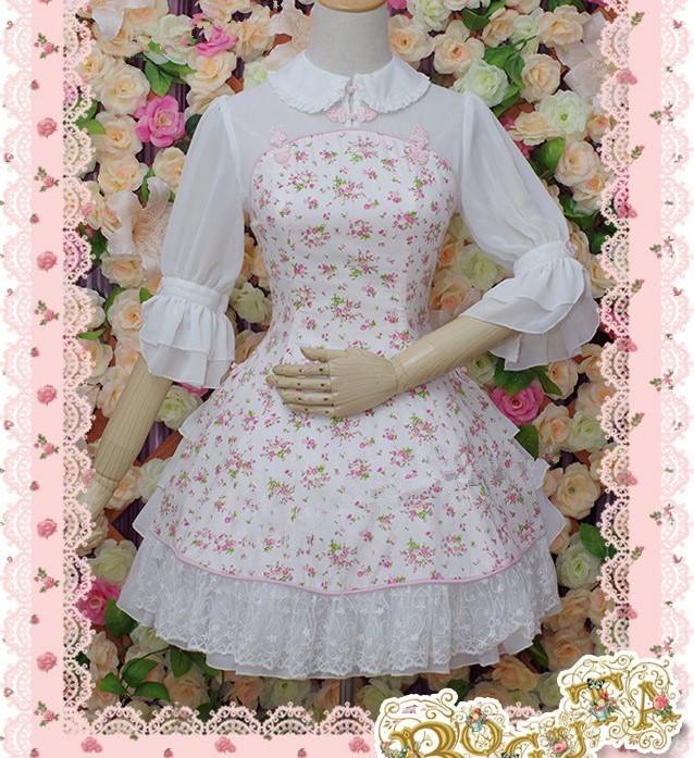 bf786e0fda6 Half Sleeves Fack Two-pieces Ruffled Floral Classic Lolita Dress ...