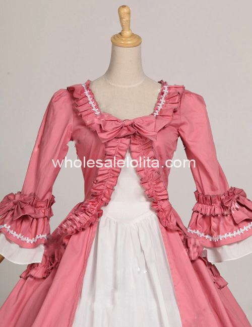 Princess Pink and White Colonial Period Dress Ball Gown ...