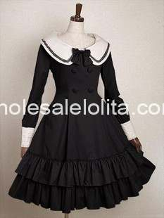 Long Sleeves Cotton Sailor Lolita Dress