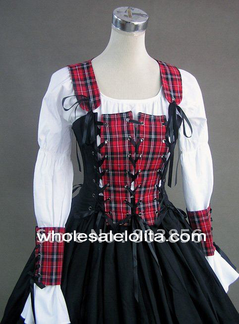 Renaissance Pirate Wench Costume Steampunk Period Dress Ball Gown