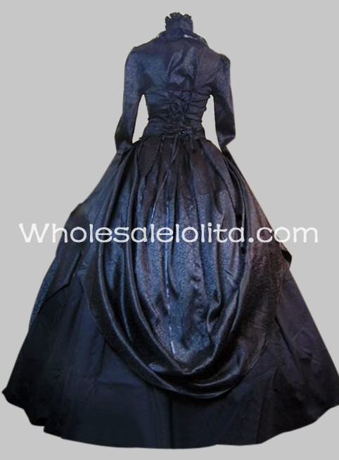 Gothic Black Brocade and Cotton Victorian Period Dress Halloween Masquerade  Ball Gown a049b8677