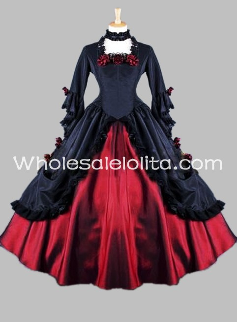 Gothic Victorian Black and Red Vampire Masquerade Ball Gown ...