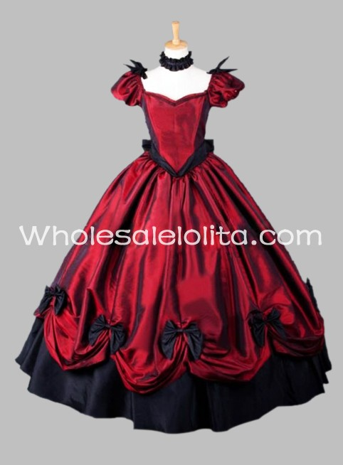 Gothic Red Southern Belle Victorian Dress Halloween Masquerade Ball ...