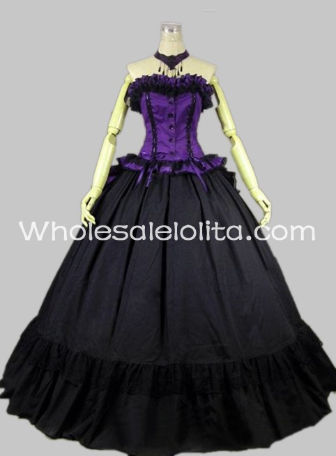Gothic Black and Purple Sleeveless Victorian Prom Dress Ball Gown ...